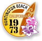 Huntington Beach 1973 Surfer Surfing Design Vinyl Car sticker decal  95x98mm